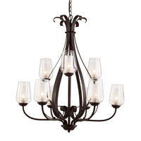 Trans Globe Eclectic Tempo 9 Light Chandelier in Rubbed Oil Bronze 70389-ROB