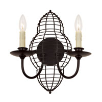Trans Globe Lighting French Basket 2 Light Wall Sconce in Black 70430-BK