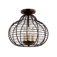 Trans Globe Lighting French Basket 3 Light Semi-Flush Mount in Black 70432-BK