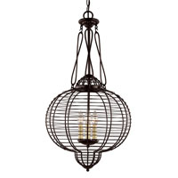 Trans Globe Lighting French Basket 3 Light Pendant in Black 70433-BK