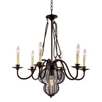 Trans Globe French Basket 7 Light Chandelier in Black 70437-BK