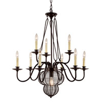 Trans Globe French Basket 10 Light Chandelier in Black 70438-BK
