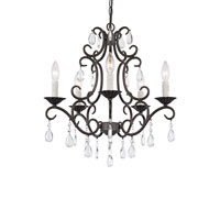 Trans Globe Crystal Curl 5 Light Chandelier in Antique Bronze 70512-ABZ