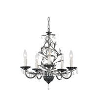 Trans Globe Signature 5 Light Chandelier in Antique Silver 70515-SL