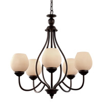 Signature 5 Light 25 inch Rubbed Oil Bronze Chandelier Ceiling Light