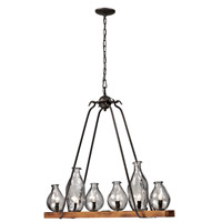 Signature 6 Light 36 inch Black and Wood Island Pendant Ceiling Light