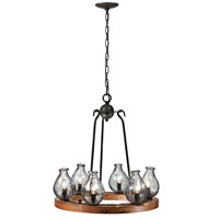 Trans Globe Signature 6 Light Chandelier in Black and Wood 70577