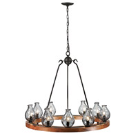 Signature 9 Light 36 inch Black and Wood Chandelier Ceiling Light