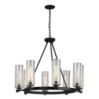 Trans Globe Signature 8 Light Chandelier in Matte Black 70588