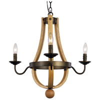Trans Globe Lighting 70603 Woodland 3 Light 19 inch Weathered Bronze Chandelier Ceiling Light photo thumbnail