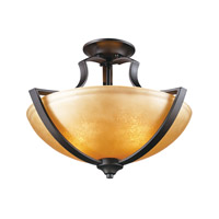 Signature 2 Light 17 inch Antique Bronze Semi Flush Mount Ceiling Light