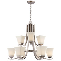 Trans Globe Lighting 70649-BN Cameo 9 Light 29 inch Brushed Nickel Chandelier Ceiling Light