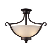 Signature 2 Light 18 inch Rubbed Oil Bronze Semi Flush Mount Ceiling Light