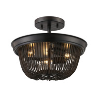 Trans Globe Signature 3 Light Semi Flush Mount in Rubbed Oil Bronze 70703-ROB