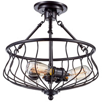 Congress 3 Light 15 inch Rubbed Oil Bronze Semi-Flush Mount Ceiling Light