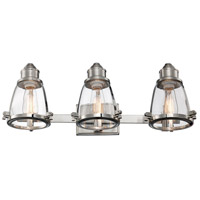 Boston 3 Light 26 inch Brushed Nickel Vanity Bar Wall Light