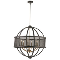 Crosswinds 6 Light 27 inch Rubbed Oil Bronze and Antique Gold Pendant Ceiling Light