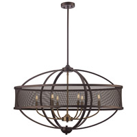 Crosswinds 6 Light 15 inch Rubbed Oil Bronze and Antique Gold Pendant Ceiling Light