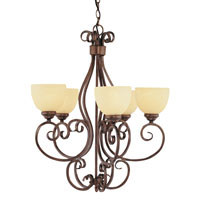 Trans Globe Moustache Scroll 5 Light Chandelier in Rubbed Oil Bronze 7217-ROB