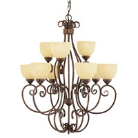 Trans Globe Moustache Scroll 9 Light Chandelier in Rubbed Oil Bronze 7218-ROB