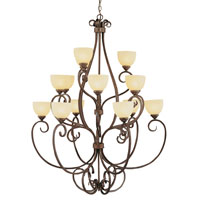 Trans Globe Moustache Scroll 15 Light Chandelier in Rubbed Oil Bronze 7219-ROB