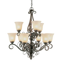 Trans Globe Rustic Iron 9 Light Chandelier in Antique Brown Rust 7799-ABR