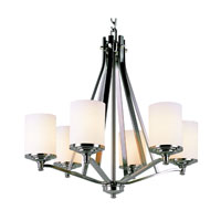 Nickel Knob 6 Light 27 inch Brushed Nickel Chandelier Ceiling Light