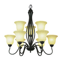 Trans Globe Farmhouse 9 Light Chandelier in Rubbed Oil Bronze 8169-ROB