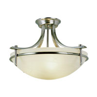 Modern Slim-Line 3 Light 22 inch Brushed Nickel Semi-Flush Mount Ceiling Light in White Marbleized