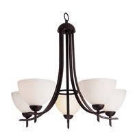 Modern Slim-Line 5 Light 24 inch Rubbed Oil Bronze Chandelier Ceiling Light in Frosted