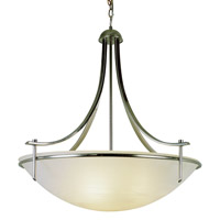 Modern Slim-Line 3 Light 26 inch Brushed Nickel Pendant Ceiling Light in White Marbleized
