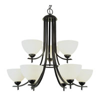 Modern Slim-Line 9 Light 30 inch Rubbed Oil Bronze Chandelier Ceiling Light in Frosted