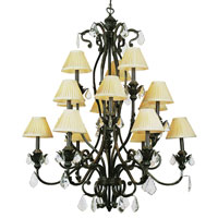 Trans Globe Leafed Patina 15 Light Chandelier in Enriched Iron 8277-EI