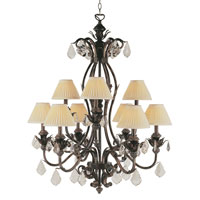 Trans Globe Lighting Crystal Flair 9 Light Chandelier in Enriched Iron 8279-EI
