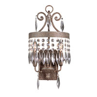 Crowned Crystal 2 Light 10 inch Dark Bronze with Gold Wall Sconce Wall Light