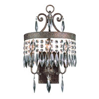 Crowned Crystal 3 Light 12 inch Dark Bronze with Gold Wall Sconce Wall Light