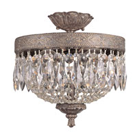 Crowned Crystal 2 Light 12 inch Dark Bronze with Gold Flush Mount Ceiling Light