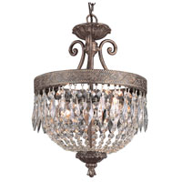 Crowned Crystal 2 Light 12 inch Dark Bronze with Gold Pendant Ceiling Light