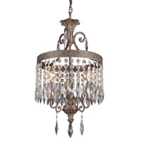 Crowned Crystal 3 Light 12 inch Dark Bronze with Gold Pendant Ceiling Light