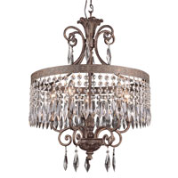 Crowned Crystal 5 Light 20 inch Dark Bronze with Gold Chandelier Ceiling Light