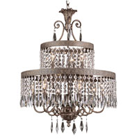 Trans Globe Crowned Crystal 9 Light Chandelier in Dark Bronze with Gold 8396-DBG