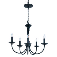 Trans Globe Lighting 9015-BK Colonial Candles 5 Light 19 inch Black Chandelier Ceiling Light