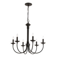 Colonial Candles 6 Light 24 inch Black Chandelier Ceiling Light