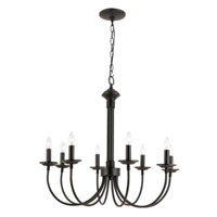 Colonial Candles 8 Light 27 inch Black Chandelier Ceiling Light
