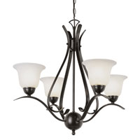 Trans Globe Ribbon Branched 4 Light Chandelier in Rubbed Oil Bronze 9280-ROB