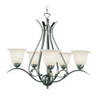 Trans Globe Lighting Contemporary 5 Light Chandelier in Brushed Nickel 9285-BN