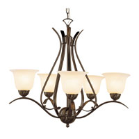 Trans Globe Ribbon Branched 5 Light Chandelier in Rubbed Oil Bronze 9285-ROB