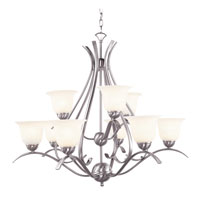 Ribbon Branched 9 Light 35 inch Brushed Nickel Chandelier Ceiling Light