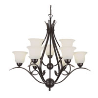 Trans Globe Ribbon Branched 9 Light Chandelier in Rubbed Oil Bronze 9289-ROB
