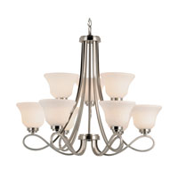 Trans Globe Lighting Contemporary 9 Light Chandelier in Brushed Nickel 9559-BN